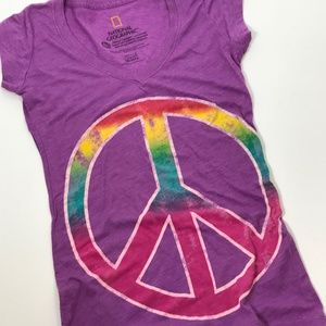 Chaser National Geographic Peace Sign Tie Dye Med